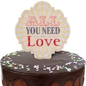 NEW All You Need is Love Party Cake Topper